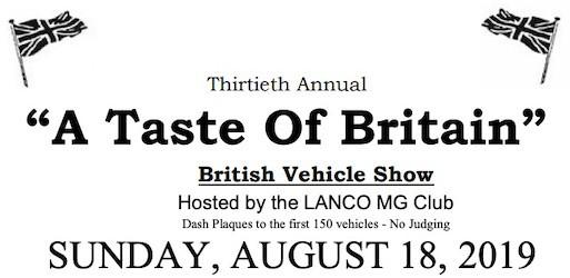 30th Taste of Britain Car Show