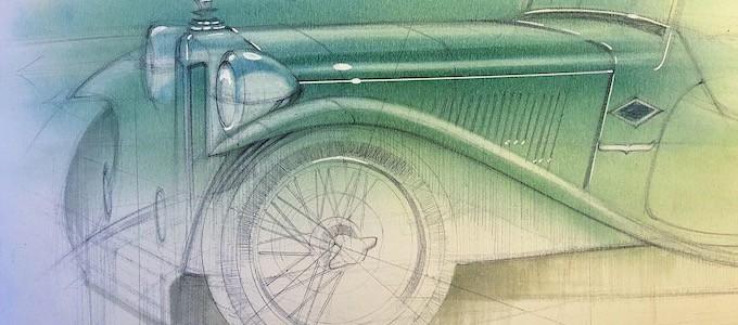 Adam Gompertz REVS sketch of the MG TC