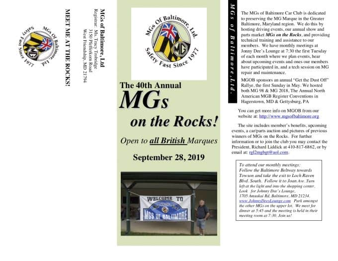 40th Annual MGs on the Rocks - Flyer