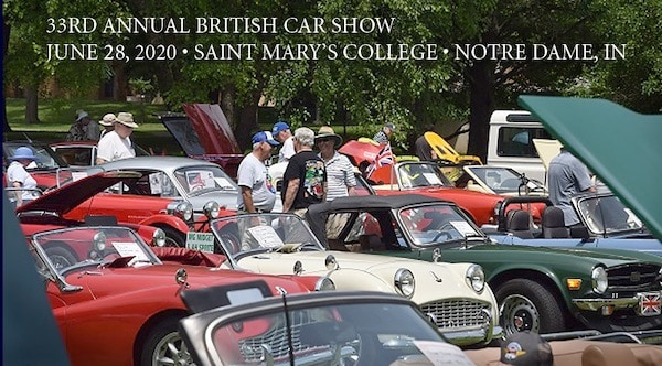"The Michiana Brits British Car Enthusiasts Club invites you to join them at their Michiana Brits 33nd Annual British Car Show. This highly popular all-marque show is on the beautiful campus of Saint Mary's College on the north side of South Bend, IN, across the street from the University of Notre Dame. The campus is small - take one of the two entry roads off US 31 Business (933N) and follow the signs. The Featured Marque is the Triumph TR-4, 4A, 250 & 6. Judging will be by popular vote, with awards given for each class and Best in Show (upgraded awards!). The entry fee is $25 per vehicle, and for club members who have their Michiana Brits membership affiliated with their NAMGBR membership, the fee is $10 per vehicle. Vehicles may arrive after 8:30 AM, judging from 11 AM - 2 PM, awards shortly thereafter. Goody bags and collector show pins for the first 100 vehicles. Food sales (credit cards accepted) rain or shine, by Saint Mary's College, air-conditioned indoors area. Open to the general public 10 AM - 3 PM, free admission & parking, indoor restrooms. Bring a can of food for our ""Help Michiana Brits Drive Out Hunger"" donation to the Food Bank of Northern Indiana. Entrants may register at the show or pre-register at the Michiana Brits website."