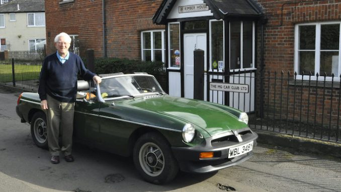 Image of Don Hayter, MGB Design, outside the headquarters of the MG Car Club