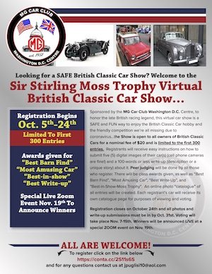 Sir Stirling Moss Virtual Car Show Flier - Click to open