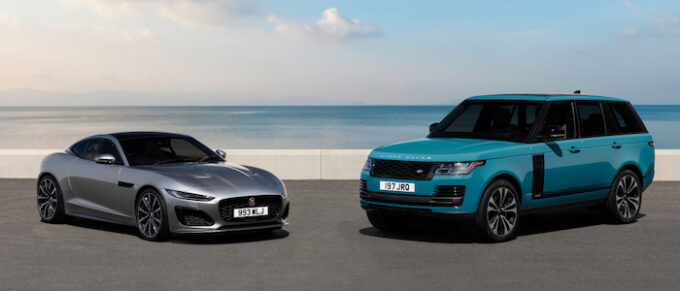 Jaguar Land Rover Hiring New Apprentices for 2021 - F-Type and Range Rover on Beach