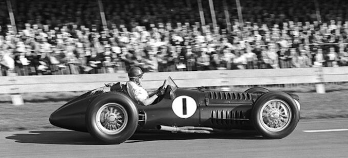 Juan Manuel Fangio at the wheel of the BRM V16 at Goodwood in 1953 (credit GPL SPITZLEY)