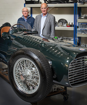 Rick Hall (left) with John Owen and his 'new' BRM V16 (credit Wonderhatch-BRM)