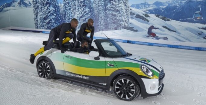 Jamaican Bobsled team get creative during lockdown with a MINI Convertible - Climbing In the Car