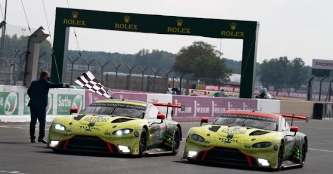 Aston Martin Racing Le Mans 2020 win crossing the line