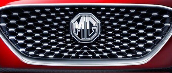 MG Car Company Logo Badge on Front of Car