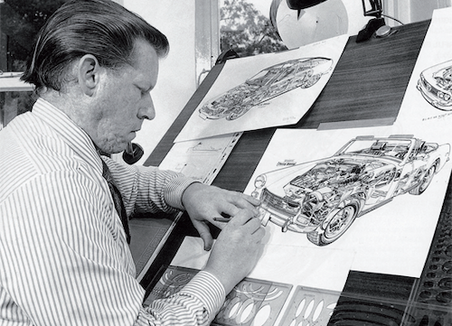 Terry Davey working on drawing for Haynes Manual artwork.