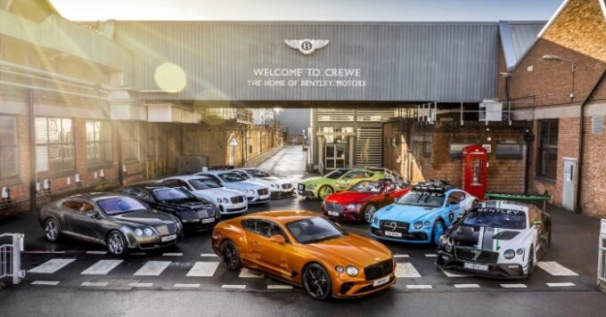 80,000th Bentley Continental GT produced in Crewe - Line up of current models and competition cars