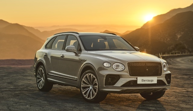 Bentley Bentayga front angle market shot in mountains