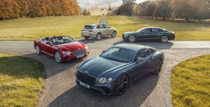 Group shot of cars on lawn - Bentley Achieves Record Sales in 2020 Despite COVID