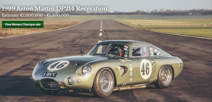 Historics Auctioneers Scales Up for 2021 - Aston Martin 1999 DP214 Recreation