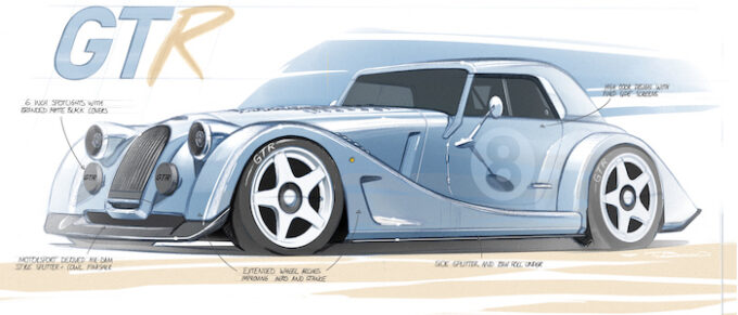 Morgan Plus 8 GTR Design - Front 34 with annotations