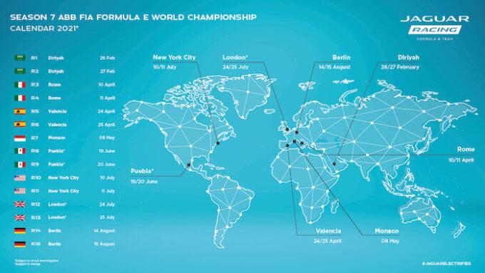 Formula E FIA Racing 2021 Calendar - Revised