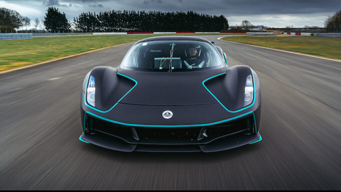 Lotus Evija honored in BBC Top Gear Electric Awards  - Head on shot on track