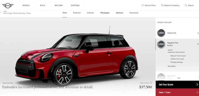 MINI USA BYO Mobile and Desktop Configurator Tool