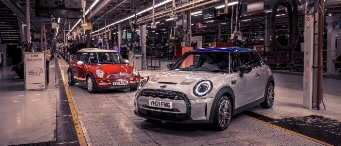 The Modern MINI - 20 Years in Production - Older and New in 3/4 view at factory