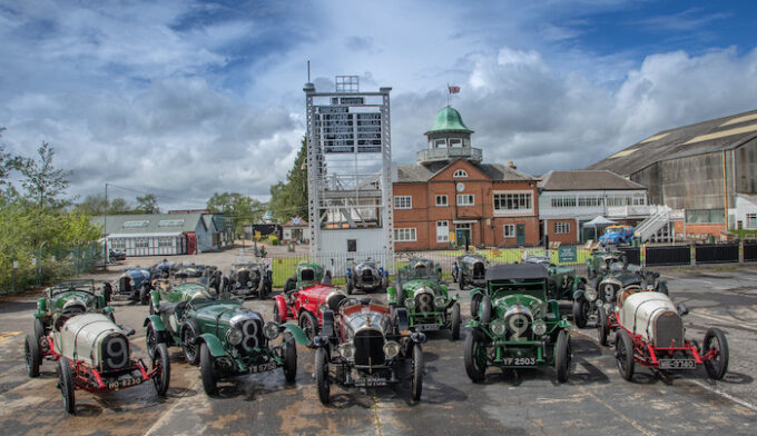 Line-up of historic Bentleys including EXP2 at famous Brooklands track.