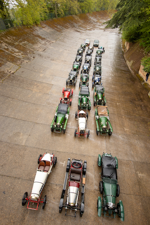 Historic Bentleys lined up on the famous Brooklands track on the occurrence of EP2 100th-anniversary win.