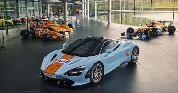 Gulf McLaren 720S photographed at McLaren Technology Centre- Woking UK - March 2021