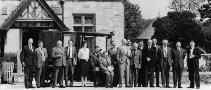 Reference Library opening party outside Beaulieu's Palace House, 1961, Credit - National Motor Museum Trust.jpg