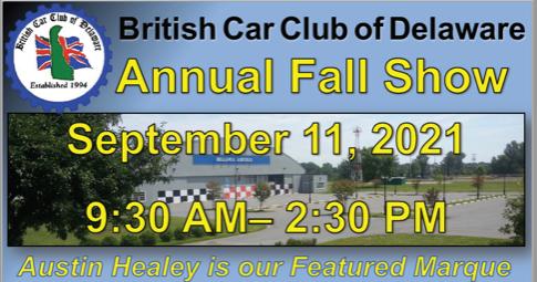 British Car Club of Deleware - Fall Show Poster 2021 Header