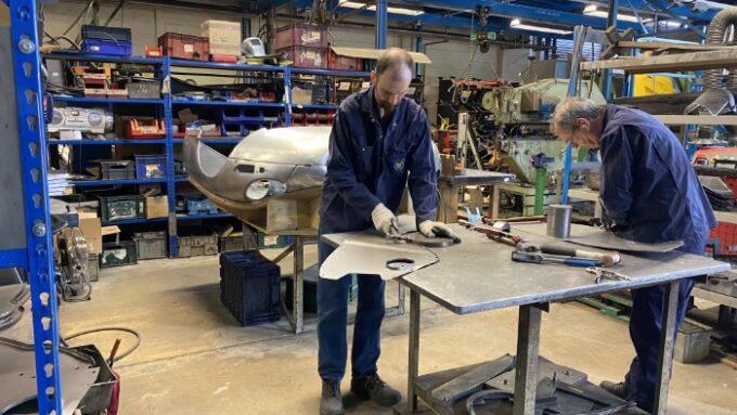 An E-TYPE bonnet work in progress at BMH
