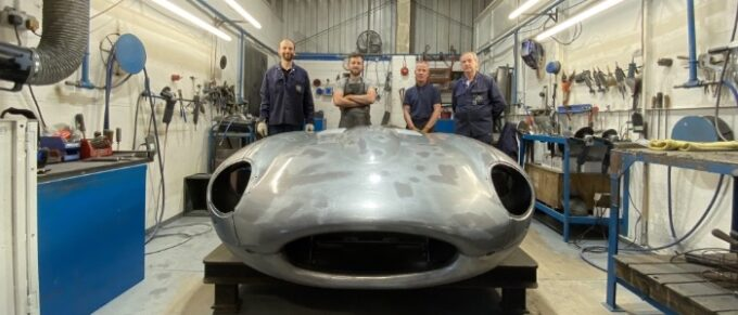 The highly skilled bonnet team at BMH with a completed example – L to R Tom Sandalls, Thomas Corfield, Dave Jeffs and Alan Stacey