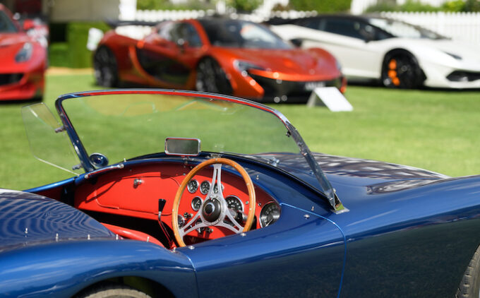 London Concours - AC Ace Interior Shot with McLarens in Background