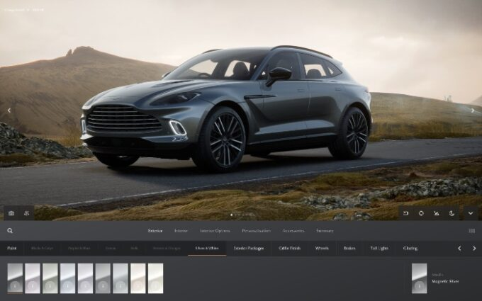 Aston Martin Configurator - front 3/4 with options available