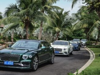 Bentley half-year Sale & Financial Results Set Record - 06 View of line of cars under palm trees