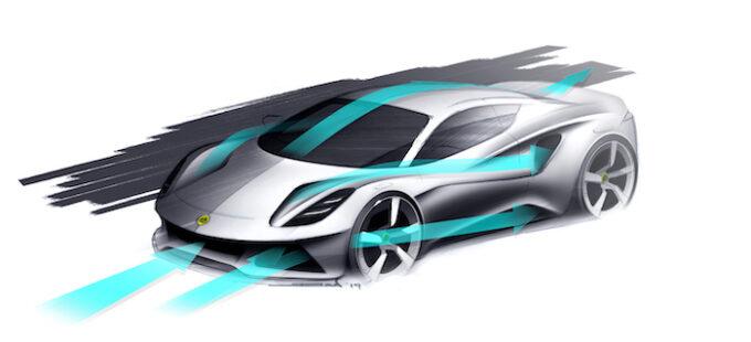 Emira design sketch with aero flow