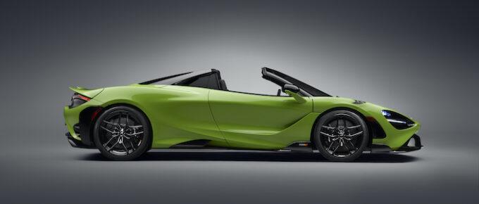 McLaren 765LT Spider - Studio image with the roof down - profile