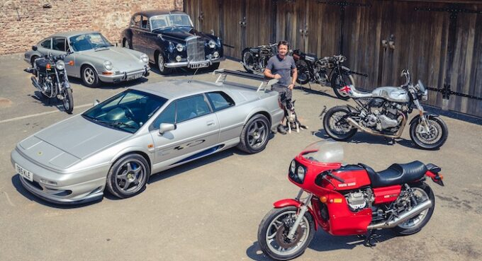 Richard Hammond with his car and motorcycle collection that is up for auction