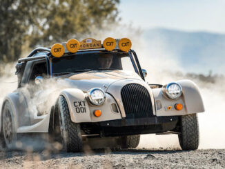 DYNAMIC Image of Morgan Plus Four CX-T cornering on dirt and graval