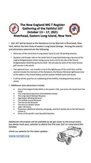 Gathering of the Faithful GoF 107 - New York - PDF Flyer