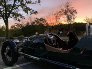 Heidi belongs to Jeff Kemper and is seen here in their Morgan 3-wheeler. The dog loves to go for rides.