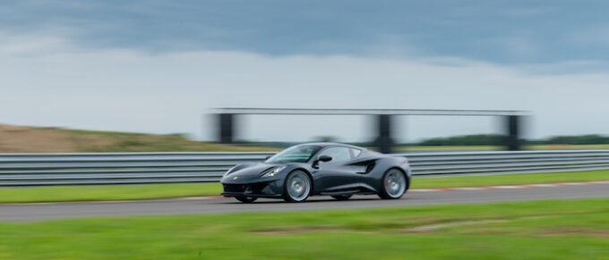 Lotus returns to Monterey Car Week - Lotus Emira on Hethel test track