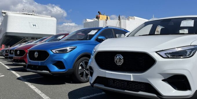 MG Continues Rapid Growth and EV Leadership - lined up at port