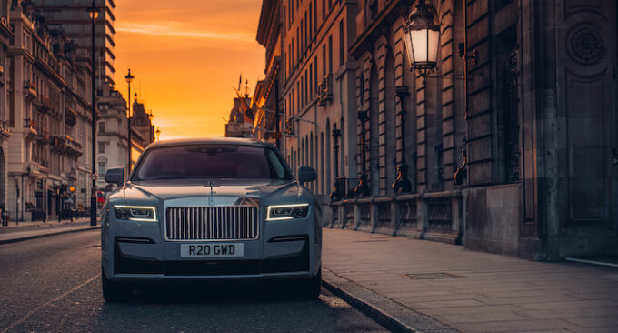 Rolls-Royce Marks Founder's Birthday with London Pilgrimage - Ghost Headon with Sunset