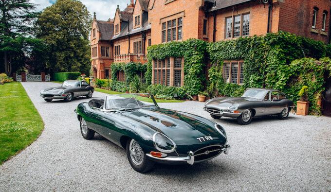 Original Geneva Motor Show Jaguar E-Types Reunited at home of William Lyons Closeup