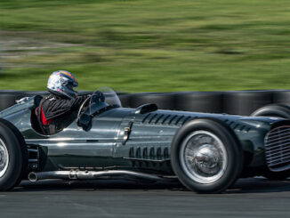 Rob Hall gives the new BRM P15 V16 Chassis No.IV its firstshake down at Blyton Race Track 7th September 2021