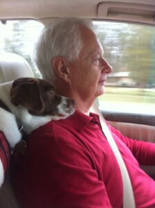 Robert Hardison with the world's best backseat driver, Buddy. Buddy is a 13 year old Terrier mix.